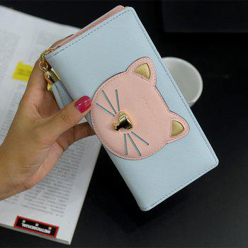 Tassel Cat Head Pattern Clutch Wallet -  BLUE