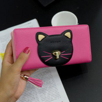 Tassel Cat Head Pattern Clutch Wallet -  ROSE RED