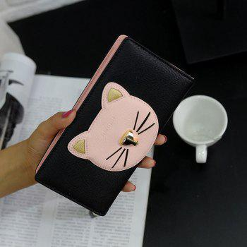 Tassel Cat Head Pattern Clutch Wallet - BLACK BLACK
