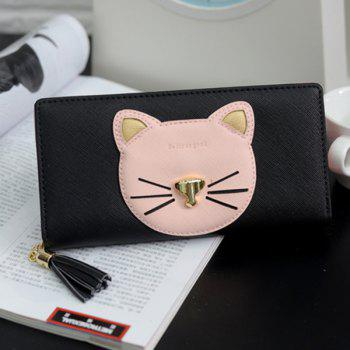Tassel Cat Head Pattern Clutch Wallet -  BLACK