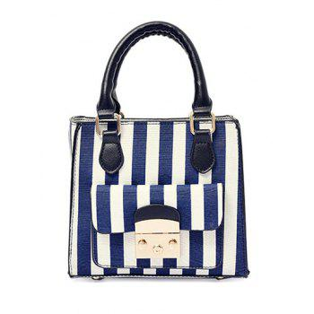 Colour Block Canvas Striped Pattern Tote Bag