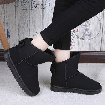 Suede Back Bowknot Snow Boots - BLACK 37