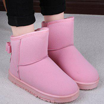 Suede Back Bowknot Snow Boots - PINK PINK