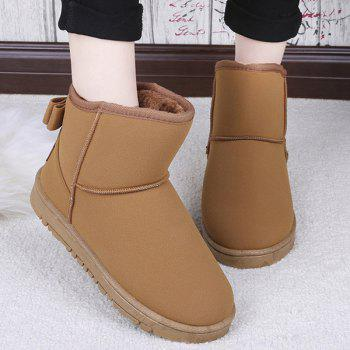Suede Back Bowknot Snow Boots - BROWN BROWN