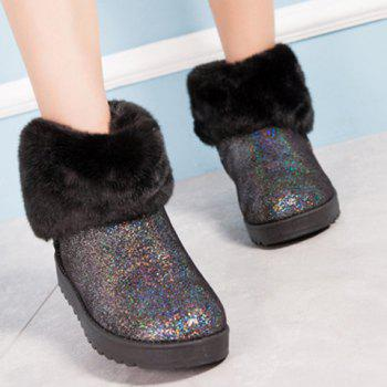 Bow Sequin Faux Fur Snow Boots - BLACK BLACK