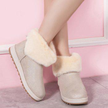 Bow Sequin Faux Fur Snow Boots - OFF WHITE 37