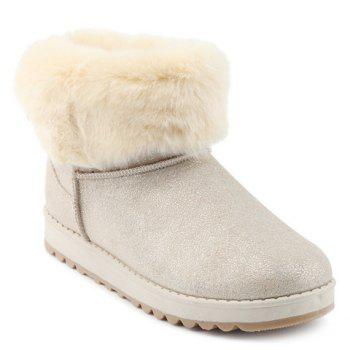 Bow Sequin Faux Fur Snow Boots - OFF-WHITE OFF WHITE