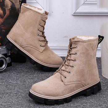 Suede Lace-Up Snow Boots - 38 38