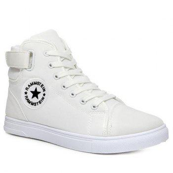 Star Pattern Tie Up High Top Canvas Shoes