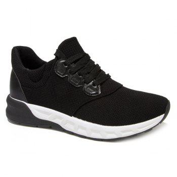 Lace-Up Splicing PU Leather Athletic Shoes - BLACK BLACK