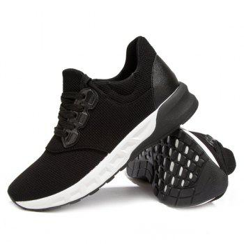 Lace-Up Splicing PU Leather Athletic Shoes - BLACK 40