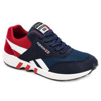 Buy Color Block Breathable Lace-Up Athletic Shoes RED