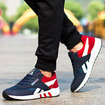 Color Block Breathable Lace-Up Athletic Shoes - RED RED