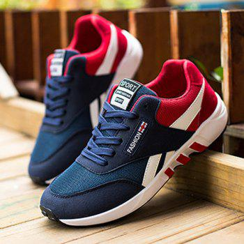 Color Block Breathable Lace-Up Athletic Shoes - RED 42