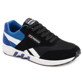 Buy Color Block Breathable Lace-Up Athletic Shoes BLUE