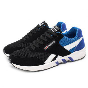Color Block Breathable Lace-Up Athletic Shoes - BLUE 43