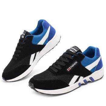 Color Block Breathable Lace-Up Athletic Shoes - BLUE BLUE