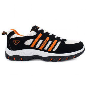 Buy Suede Colour Block Lace-Up Athletic Shoes BLACK/ORANGE