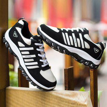 Suede Colour Block Lace-Up Athletic Shoes - WHITE/BLACK WHITE/BLACK