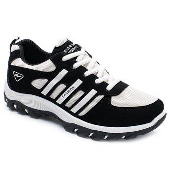 Suede Colour Block Lace-Up Athletic Shoes - WHITE AND BLACK WHITE/BLACK