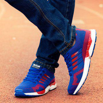 Tie Up Breathable Color Spliced Athletic Shoes - BLUE/RED 42