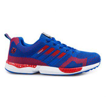 Tie Up Breathable Color Spliced Athletic Shoes - BLUE AND RED BLUE/RED