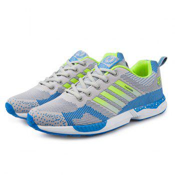 Tie Up Breathable Color Spliced Athletic Shoes - LIGHT GRAY 41