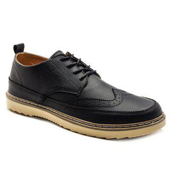 Buy Dark Colour Lace-Up Engraving Casual Shoes BLACK
