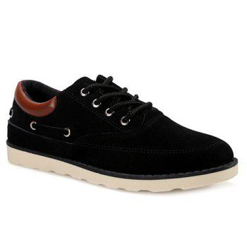 Buy Tie Splicing Suede Casual Shoes BLACK
