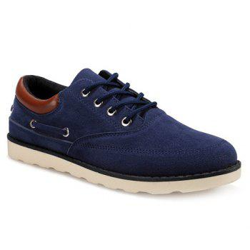 Tie Up Splicing Suede Casual Shoes