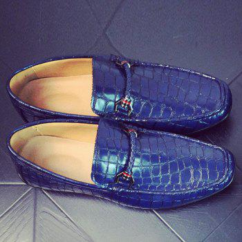 Embossing PU Leather Metal Casual Shoes - BLUE 42