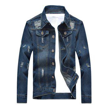 Turn-Down Collar Distressed Pockets Design Denim Jacket