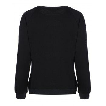 Raglan Sleeve Embroidered Funny Sweatshirt - BLACK L