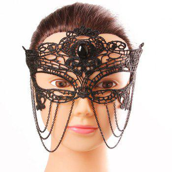 Mystical Half Face Hollow Out Black Lace Chains Masquerade Masks - BLACK BLACK