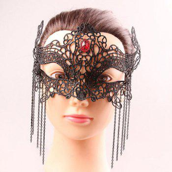 Mystical Half Face Hollow Out Lace Chains Zircon Masquerade Masks - BLACK BLACK