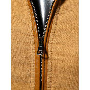 PU-Leather Splicing Stand Collar Epaulet Design Jacket - EARTHY L