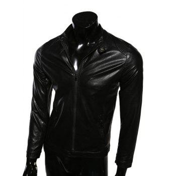 Casual Zip-Up Stand Collar PU-Leather Jacket
