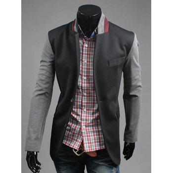 Lapel Single-Breasted Color Block Splicing Design Blazer