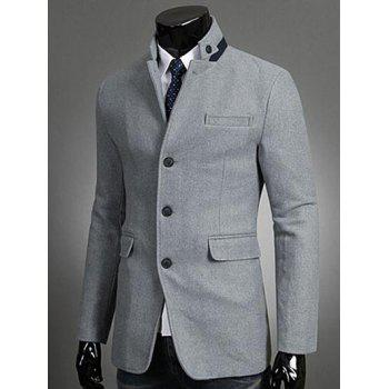 Stand Collar Single-Breasted Button Embellished Blazer