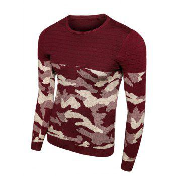 Crew Neck Long Sleeve Camouflage Splicing Sweater