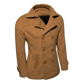 Turn-Down Collar Double Breasted Wool Coat