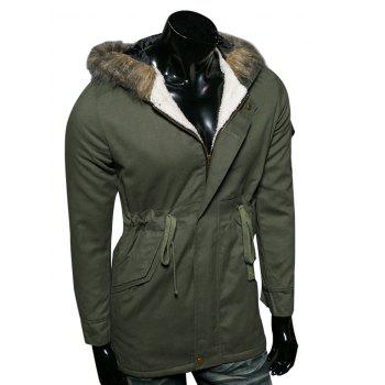 Buy Faux Fur Collar Hooded Cotton-Padded Drawstring Parka Coat ARMY GREEN