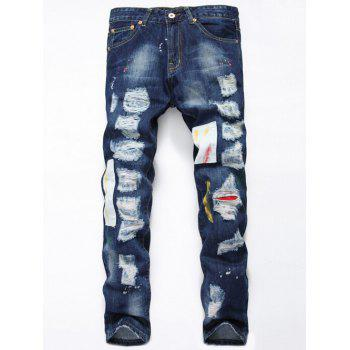 Paint Splatter Applique Broken Hole Jeans