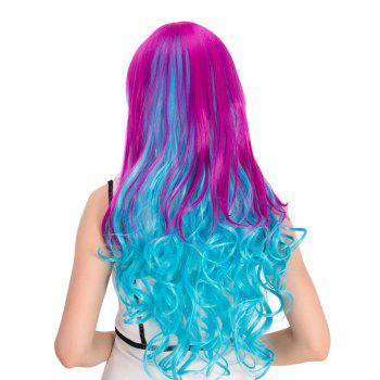 Cosplay Synthetic Long Purple Gradient Blue Inclined Bang Wavy Wig - COLORMIX