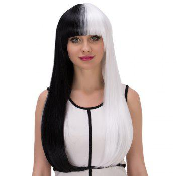 Cosplay Long Full Bang Straight Tail Adduction Double Color Synthetic Wig - WHITE/BLACK