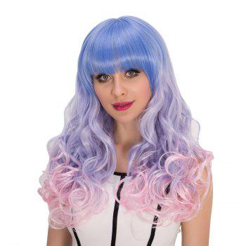 Cosplay synthétique Multi Color long complet Bang Shaggy Wavy perruque - multicolorcolore