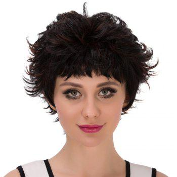Droites courtes Neat Bang Layered Ombre perruque synthétique - multicolorcolore