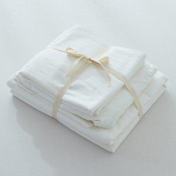 Washable Soft Cotton Fitted Sheet 4PCS Bedding Set - WHITE KING