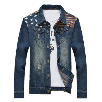 Turn-Down Collar Distressed Star and Stripe Print Denim Jacket