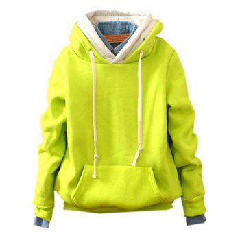 Front Pocket Pullover Fleece Hoodie - FLUORESCENT YELLOW FLUORESCENT YELLOW